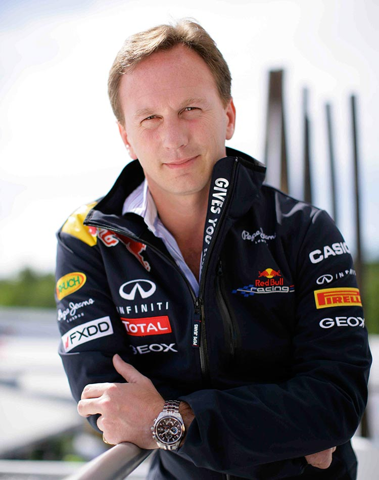 Formula 1 team boss Christian Horner waearing an Ediface