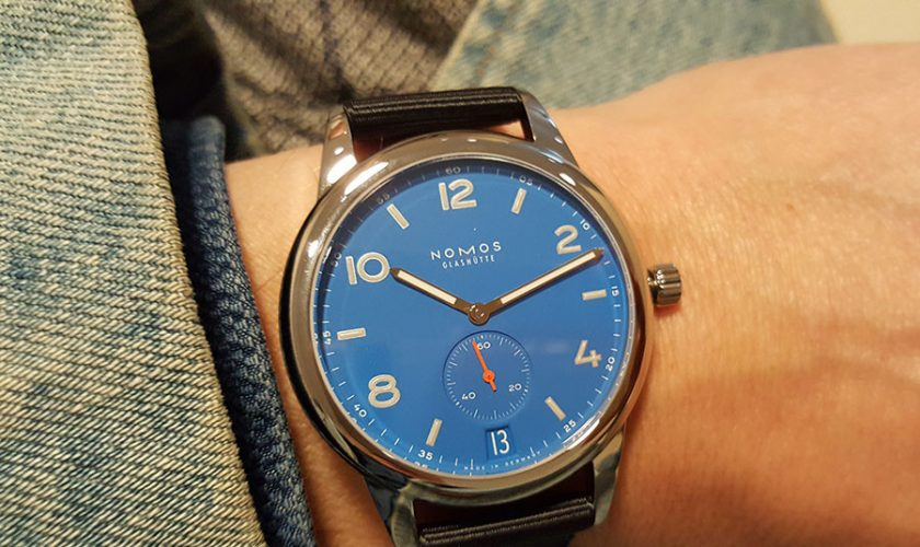 The new 41mm Nomos Glashűtte in Signal Blau. The brightest of blues.
