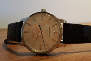 Grand Seiko is now a separate brand and this is a re-edition of the first Grand Seiko from 1960. 1960 pieces made in steel.