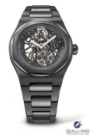 For the first time the Laureato Skeleton is entirely clothed in black ceramic